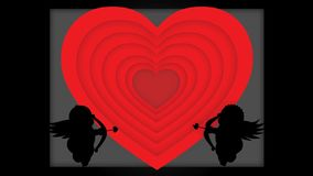 Le coeur change la couleur avec des cupidons illustration libre de droits