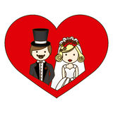 le coeur coloré de silhouette avec la demi bande dessinée de corps a marié des couples Photo libre de droits