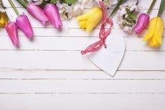 Le coeur décoratif, et la frontière du pommier fleurit et brigh Images libres de droits