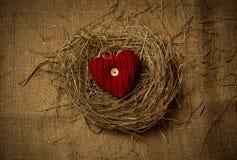 Le coeur décoratif tricoté se situant dans les oiseaux nichent sur le tissu de toile Photo stock