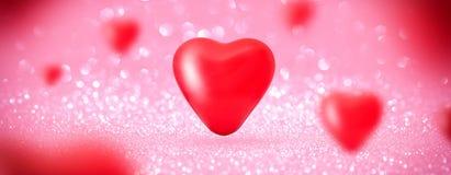 Le coeur d'amour monte en ballon le fond brillant Images stock