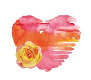 Le coeur d'aquarelle a monté Photo stock
