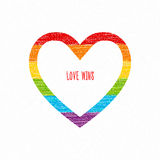 Le coeur d'arc-en-ciel, amour gagne l'inscription Dessin au crayon de croquis Image stock