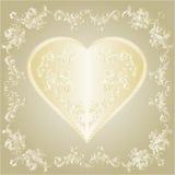 Le coeur d'or de valentines et le vintage d'ornements d'argent encadrent le vecteur Image stock