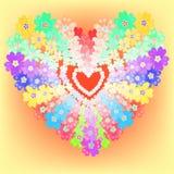 Le coeur de fleurs de primevère de primevères de ressort de fond rougeoie Vecteur Image libre de droits