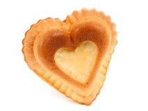 Le coeur de gâteau a isolé Photo libre de droits