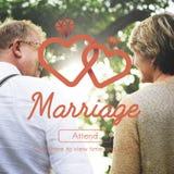 Le coeur de mariage d'amour de mariage marient le concept Images libres de droits
