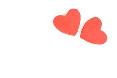 Le coeur de mousse forme sur le fond blanc en tant que conception pour le jour du ` s de Valentine Photographie stock