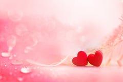 Le coeur de rouge forme avec la baisse et le fond mou i de pluie de fleur Image libre de droits