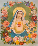 Le coeur de Vierge Marie en fleurs L'image catholique typique a imprimé en Allemagne de la fin de 19 cent Photographie stock libre de droits