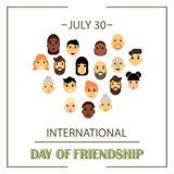 Le coeur des amis de différents genres et nationalités comme symbole de jour international d'amitié illustration stock