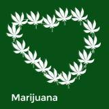 Le coeur des feuilles blanches de la marijuana sur a Image stock