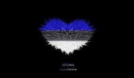 Le coeur du drapeau de l'Estonie Illustration Stock