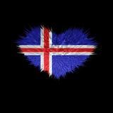Le coeur du drapeau de l'Islande Illustration Stock