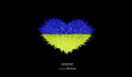 Le coeur du drapeau de l'Ukraine Photo stock
