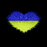 Le coeur du drapeau de l'Ukraine Photos stock