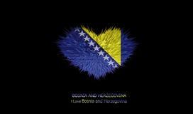 Le coeur du drapeau de la Bosnie-Herzégovine Illustration de Vecteur
