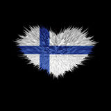 Le coeur du drapeau de la Finlande Photo stock