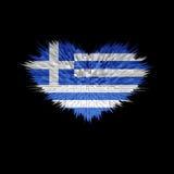 Le coeur du drapeau de la Grèce Illustration de Vecteur