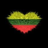 Le coeur du drapeau de la Lithuanie Illustration de Vecteur