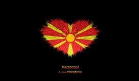 Le coeur du drapeau de la Macédoine Illustration de Vecteur