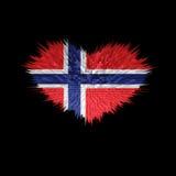 Le coeur du drapeau de la Norvège Illustration Stock