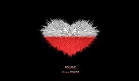 Le coeur du drapeau de la Pologne Illustration Libre de Droits