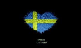 Le coeur du drapeau de la Suède Illustration de Vecteur