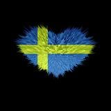 Le coeur du drapeau de la Suède Illustration Stock
