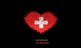Le coeur du drapeau de la Suisse Illustration de Vecteur