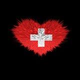 Le coeur du drapeau de la Suisse Illustration Libre de Droits