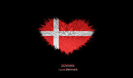 Le coeur du drapeau du Danemark Photo stock