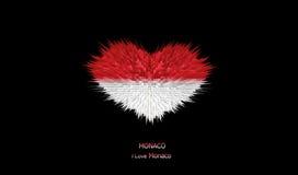 Le coeur du drapeau du Monaco Illustration Stock