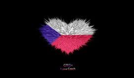 Le coeur du drapeau tchèque Illustration de Vecteur