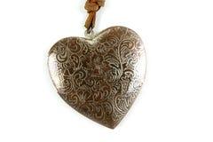 Le coeur en bois handcraft d'isolement sur le blanc photo stock