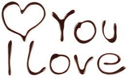 Le coeur est fait de sirop de chocolat Image libre de droits
