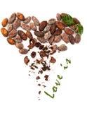 Le coeur et l'amour de haricots de cacao est signe Photo libre de droits