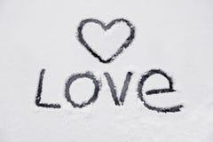 Le coeur et le mot de l'amour Photo stock
