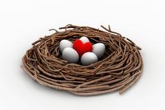 Le coeur et les oeufs rouges dans un oiseau nichent Images libres de droits