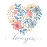 Le coeur fleurit la carte illustration de vecteur