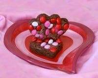 Le coeur forme des 'brownie' Image libre de droits