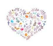 Le coeur mignon de Pâques avec des lapins, oeufs, vintage fleurit, des oiseaux watercolor illustration stock
