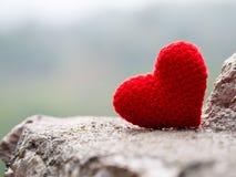 Le coeur mis sur la pierre le fond est une forêt et des montagnes Copiez l'espace pour le texte Jour de valentines, concept d'amo Photos stock
