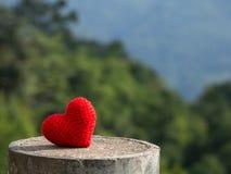 Le coeur mis sur la pierre le fond est une forêt et des montagnes Copiez l'espace pour le texte Jour de valentines, concept d'amo Photo stock