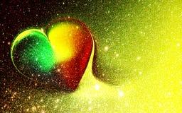 Le coeur ombragé d'or de scintillement de résumé a donné au fond une consistance rugueuse avec des effets de la lumière Fond, pap illustration stock