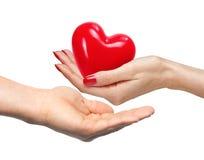 Le coeur rouge chez la main de la femme et l'homme remettent, d'isolement sur le blanc Images libres de droits