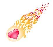 Le coeur rouge dans une flamme vole Image libre de droits