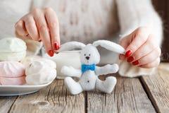 Le coeur rouge de jouet d'offre de femme et mangent des bonbons Photos stock