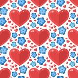 Le coeur rouge fleurit le vecteur la carte que sans couture de couleur de flore de fond de modèle belle célèbrent l'art lumineux  Image libre de droits