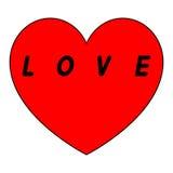 Le coeur rouge pour le jour des femmes avec le chemin noir et noircissent un insription Images libres de droits